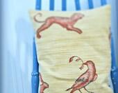 Bird Pillow, Decorative Lavender Pillow, One of a Kind Pillow, Handmade Pillow, Paisley Pillow, Accent Pillow, Pillow, Lavender Pillow