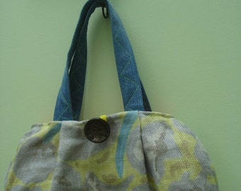 Fabric Bag, Floral Bag, Linen Bag, Floral Purse, Handbag, Linen Purse, One of a Kind Bag, Bag, Purse, Handmade Bag