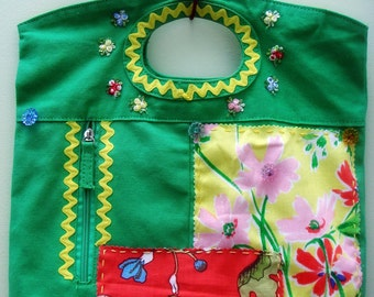Floral Purse, Handmade Purse, Small Tote, Appliqué Purse, Fabric Purse, Patchwork Bag, Green Purse, Floral Bag, Pretty Purse, Summer Purse