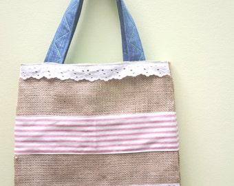 Tote Bag, Appliqué Bag, Market Tote Bag, Tote Bag, Burlap Bag, Market Tote, Shabby Chic bag, Tote, Market bag, Fabric Tote