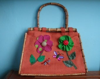 Floral Handbag, Appliqué Purse, Floral Bag, One of a Kind Bag, Orange Handbag, Appliqué Bag, Orange Purse, Handbag, Summer Handbag, Handbag