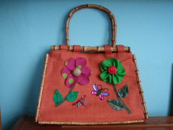 Floral Handbag, Appliqué Purse, Floral Bag, One of a Kind Bag, Orange Handbag, Appliqué Bag, Orange Purse, Handbag, Summer Handbag, Handbag