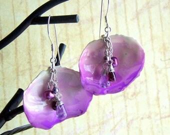 Rose Petal Earrings, Sterling Silver, Purple, Gemstone, Pearl