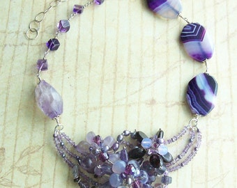 Sea Urchin Amethyst and Agate Flower Necklace