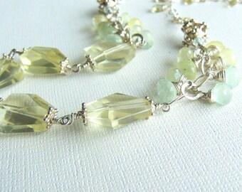 Yellow Gemstone Necklace, Lemon Quartz, Prehnite, Sterling Silver, Lemon Drops