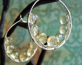 Yellow Gemstone Earrings, Beer Quartz, Sterling Silver Hoops