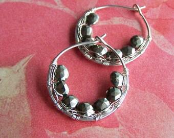 Pyrite Earrings, Metallic Gemstone, Sterling Silver Hoops