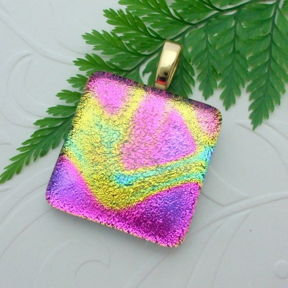Pendant Pink Glow Dichroic Fused Glass Pendant 0629