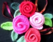 Felted Roses Crochet Rose Pattern Tutorial, Crochet Flower Pattern 6 roses, Instant download