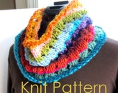 Loop Scarf Knitting Pattern Tutorial, Knit Scarf Pattern Infinity Loop Scarf, instant download file