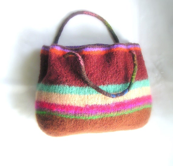 Knitted Bag Patterns For Beginners : Easy Tote Bag - Knit Felted Pattern pdf - Easy Beginner Tutorial
