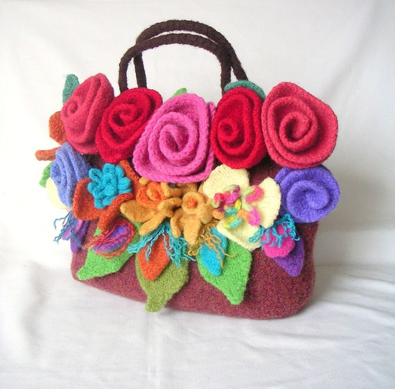 Knitting Pattern Felted Bag : Felted Flower Bag Knitting Pattern by GraceKnittingPattern on Etsy
