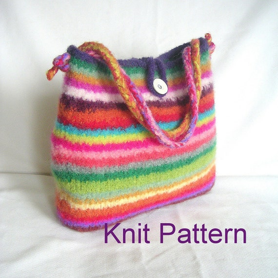 Easy Knitting Pattern For Bag : Items similar to Knitting Pattern, Easy Felted Bag Knitting Pattern Tutorial ...