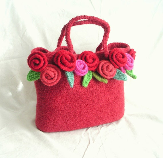 Crochet Felted Tote Bag Pattern : Items similar to How to make Crochet Felted Flower Bag ...