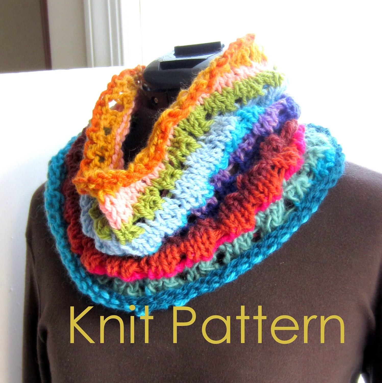 Infinity Scarf Knitting Pattern Size 13 Circular Needles : Infinity Scarf Knitting Pattern Tutorial pdf Easy Knit Scarf