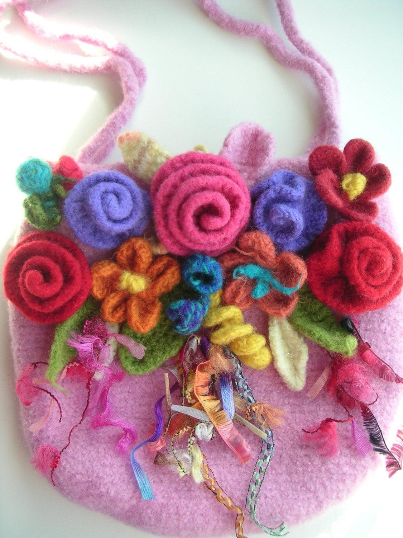 Crochet Bag Felt Pattern : Crochet FELT Pattern FLOWER Bag Pink by GraceKnittingPattern