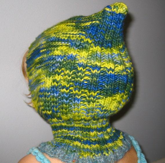 Balaclava Knitting Pattern Child : Knit Child Balaclava Hoodie Hat ELF Waldorf inspired hand