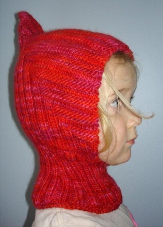 Balaclava Knitting Pattern Child : Knit Child Balaclava Hoodie Hat LITTLE RED RIDING HOOD