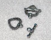 Silver Heart- Designer Toggle Clasps