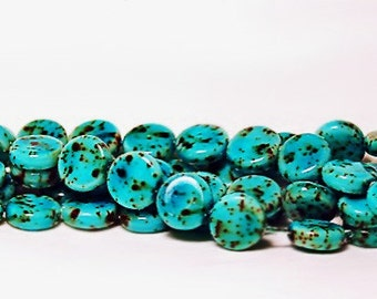 Chocolates and  Mint- Czech pressed glass beads