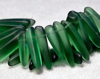 Green Daggers- recycled sea glass beads