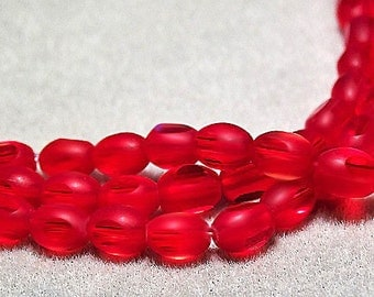 Red Windows- window cut glass beads
