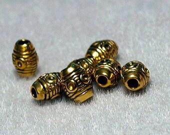 Gold Barrel Beads