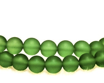 Peridot Princess- recycled sea glass beads