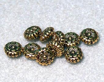 Golden Flowers- spacer bead