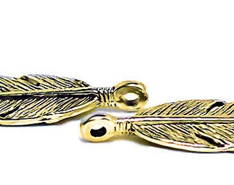 Golden Feather Charms -Pendant