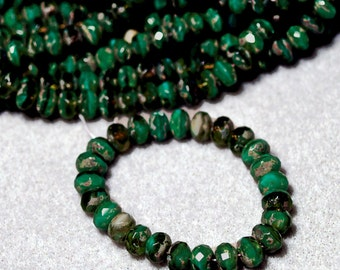 Marbled Green Gemstones- thru cut Czech glass beads