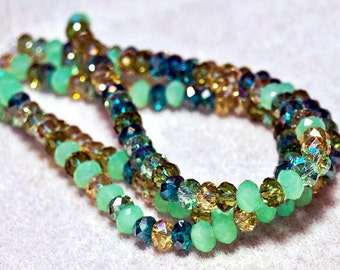 Mint Julep- faceted crystal beads