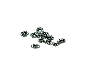 Silver Bali Daisy - pewter spacer beads