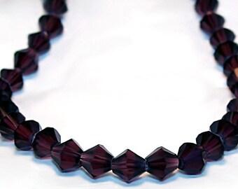 Dark Purple Bicone Crystals- 7mm glass beads