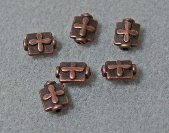 Antiqued Copper Cross Spacer Beads