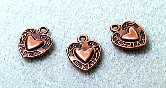 Antiqued Copper Heart Charms