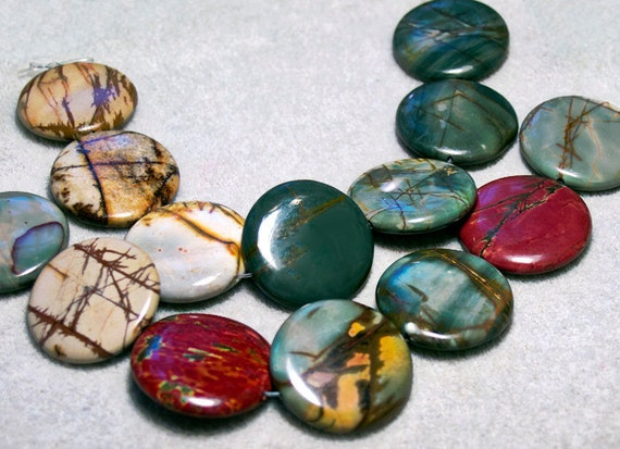 Rainbow Picasso Jasper Focal Beads