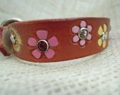 Red Leather Collar with Yellow and Pink Flowers