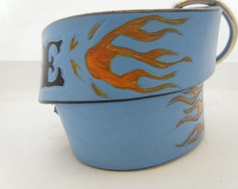 Dog Collar Leather Blue with orange Flames