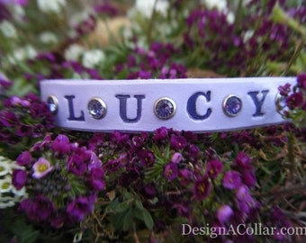 Personalized Cat Collar - Leather - Cat Collar - Lilac
