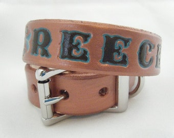Copper Leather Dog Collar