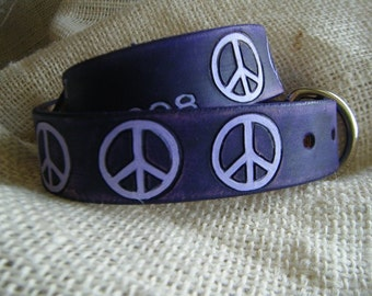 Hippie Dog Collar - Leather - Dog Collar - Peace
