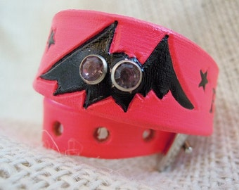 Hot Pink Leather Collar with Bat Design