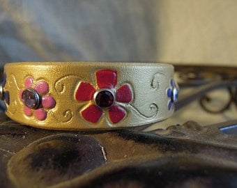 Gold Leather Dog Collar with Bright Flowers and Rhinestones