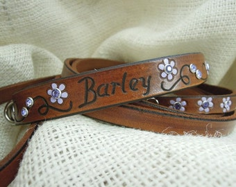 Personalized Leather Dog Collar - Small Dog - Leather Dog Collar - Personalized