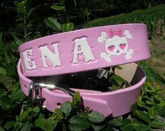 Girl Dog Collar - Pink -  Leather Collar - Girly Skulls
