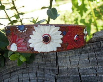 Brown Leather Collar with Red White and Blue Flowers and  Rhinestones