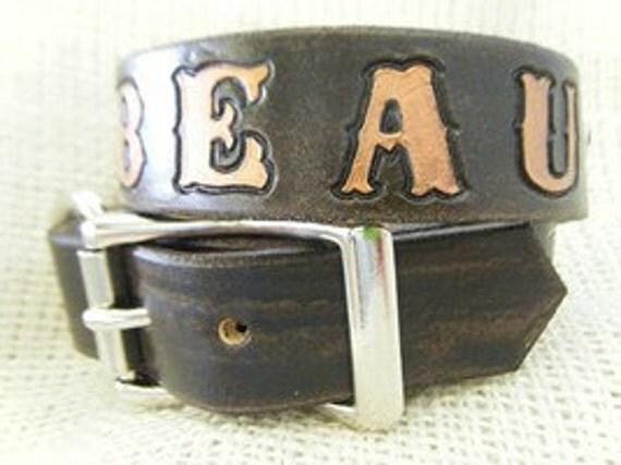 Leather Dog Collar - Stars - Dog Collar - Personalized
