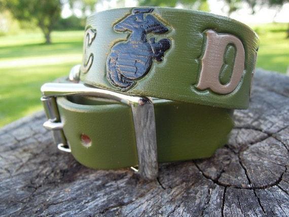 USMC Service Charlie Leather Dog Collar