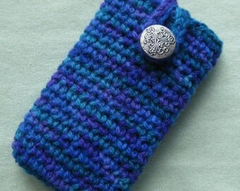 Wool Cell Phone Cozy - Lovely Blue and Purple - FREE US Shipping